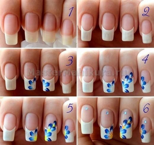 Наносим цветы на пальцы