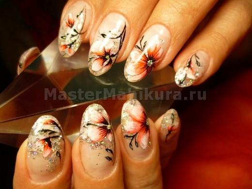 Осень на ногтях с блестками