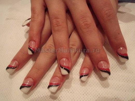 Делаем френч с рисунком на нарощенных ногтях