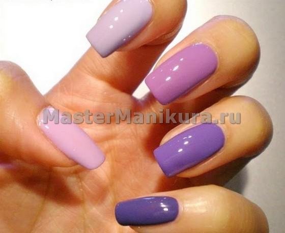 Омбре с фиолетовым лаком