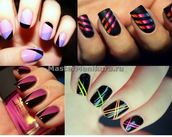 Красивый яркий дизайн коротких ногтей