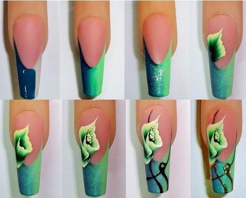 Как нанести узор цветка на ногти