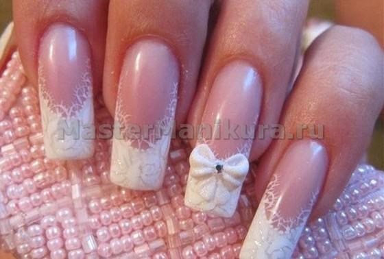 Рисунки на ногтях с бантиком