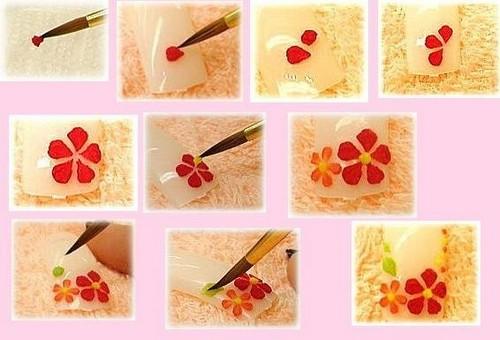 Пошаговая смеха рисования композиции из цветов лаками