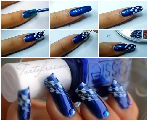 Пошаговый рисунок иголкой на ногтях
