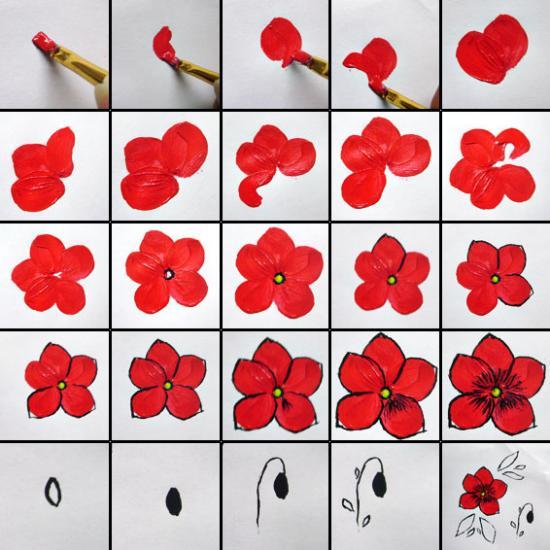 Поэтапно рисовать цветы на ногтях