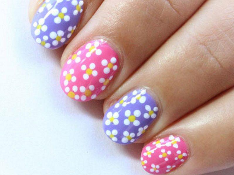 Цветочки как рисовать на ногтях