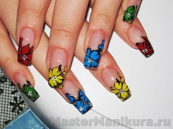 Как рисовать на ногтях яркие цветы