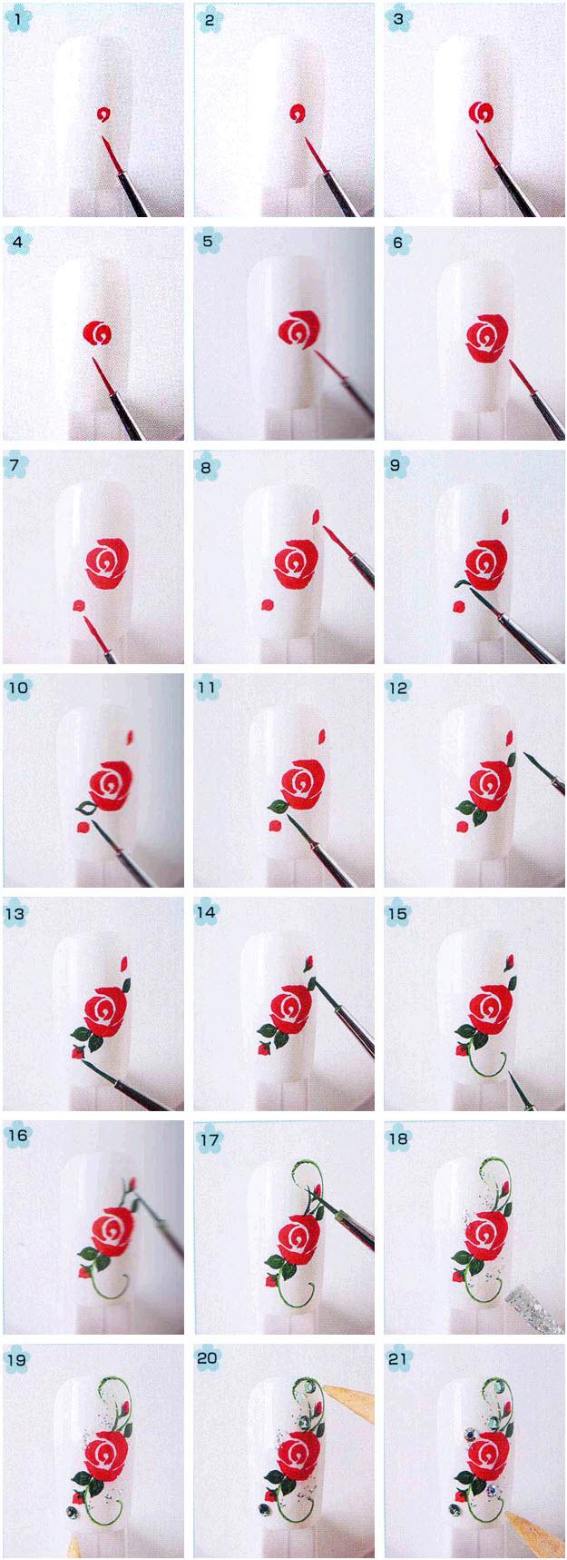 Флористические мотивы: техника рисования цветов на ногтях
