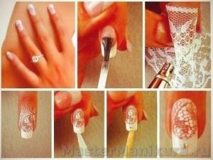 Узор кружева на ногтях