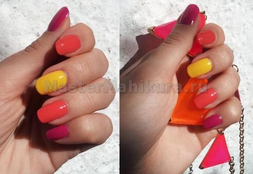 Использовать яркие лаки на ногтях