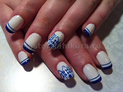 Белый с синим