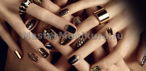 Эффектный золотой стиль на пальчиках