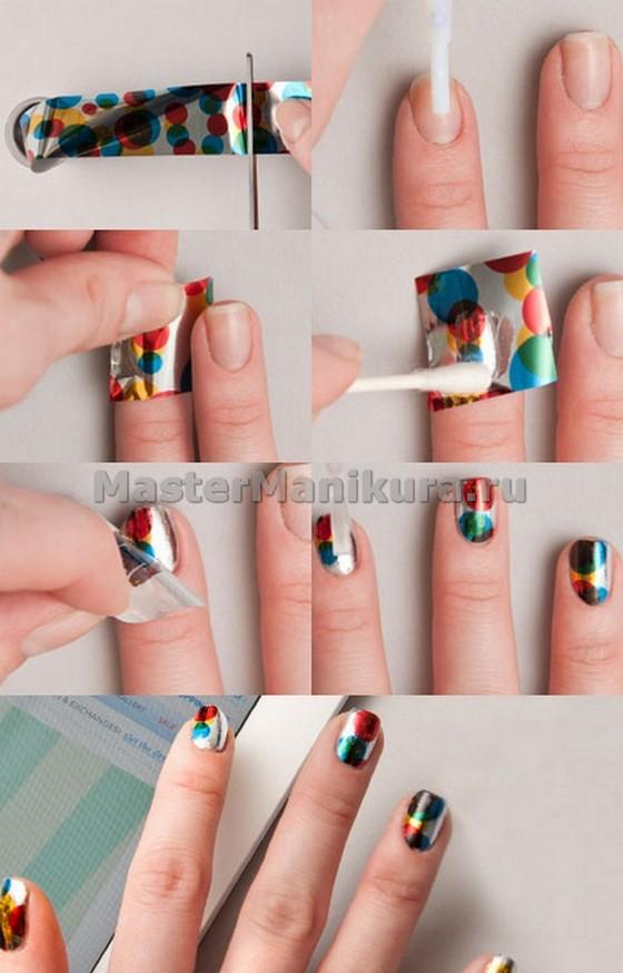 Нанесение фольги на ногти