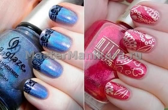 2 вида рисунков на синих и красных ногтях