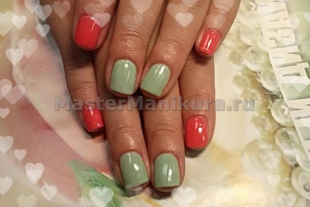 Оранжевый и светло-зеленый цвет  ногтей