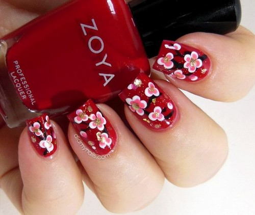 Стильный узор розовые цветы на красном фоне