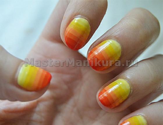 Яркий желто-оранжевый вариант маникюра