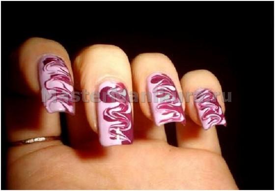 Разводы иголкой на ногтях
