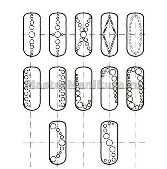 Схема рисования узора на пальцах