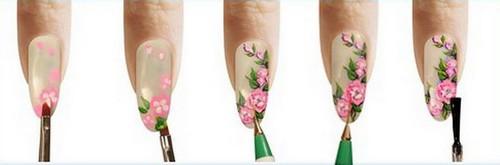 Нанесения рисунка из цветов лаками на ногти