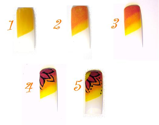 Пошаговая схема рисования на ногтях