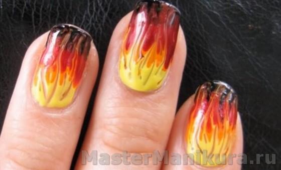 Как нарисовать огненный рисунок на ногтях