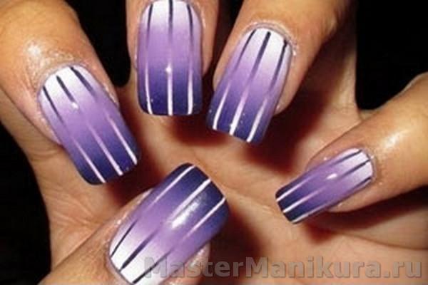 Полосатые рисунки на ногтях лаком