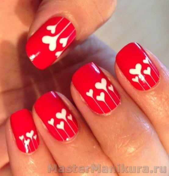 Рисунки красным лаком на ногтях