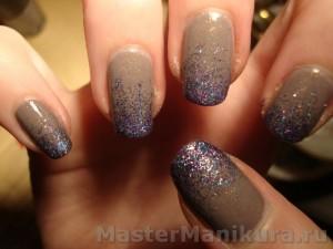 Блестящий маникюр на ногтях