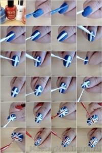 Как сделать британский флаг на  ногтях