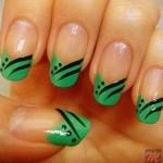 Простой зеленый дизайн ногтей