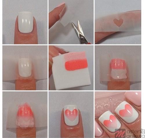 Простые сердечки на ногтях для начинающих