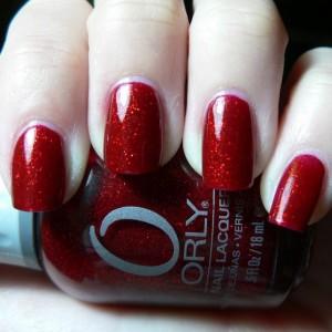 Красный лак с блестками фирмы ORLY